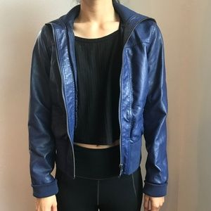 Faux Leather Navy Jacket